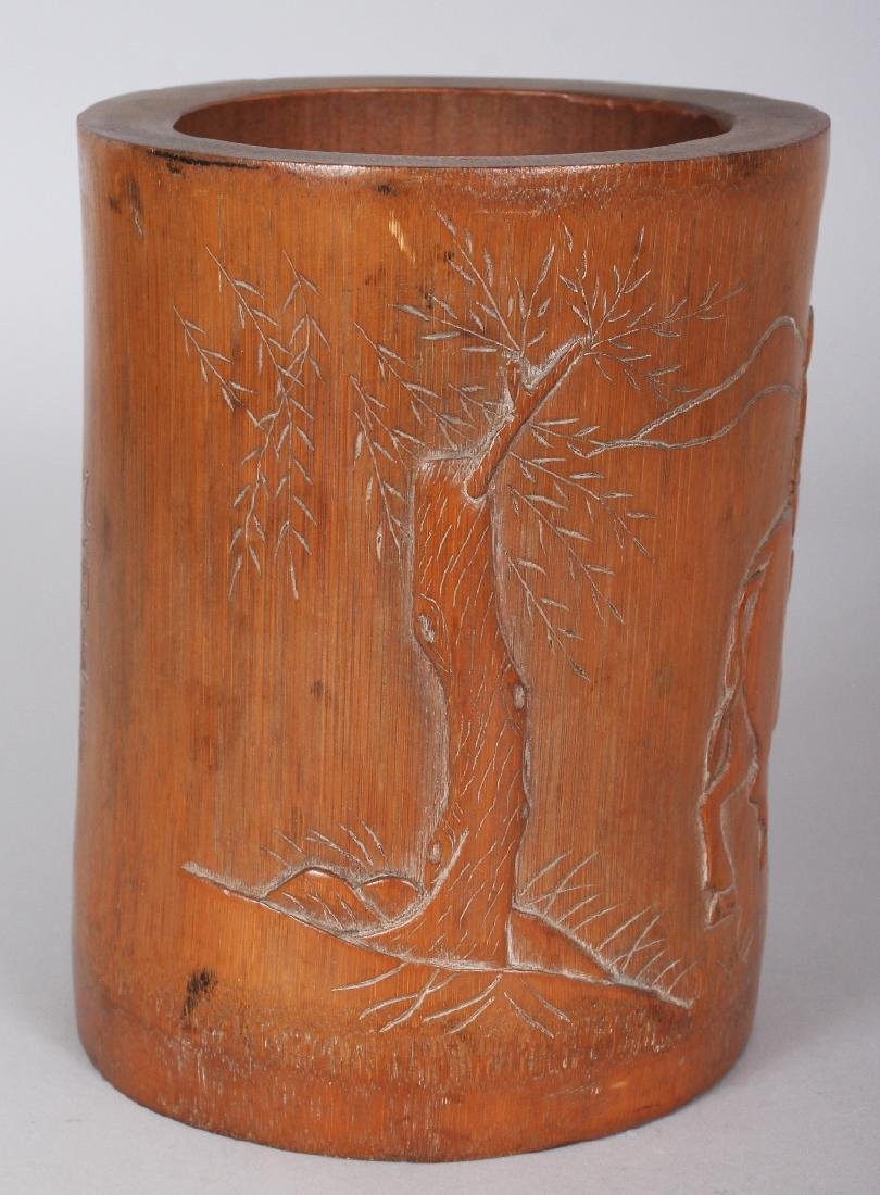 A SIGNED 19TH CENTURY CHINESE BAMBOO BRUSHPOT, carved - 2