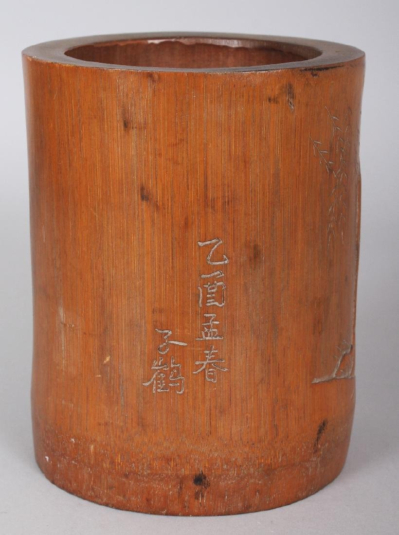 A SIGNED 19TH CENTURY CHINESE BAMBOO BRUSHPOT, carved - 3