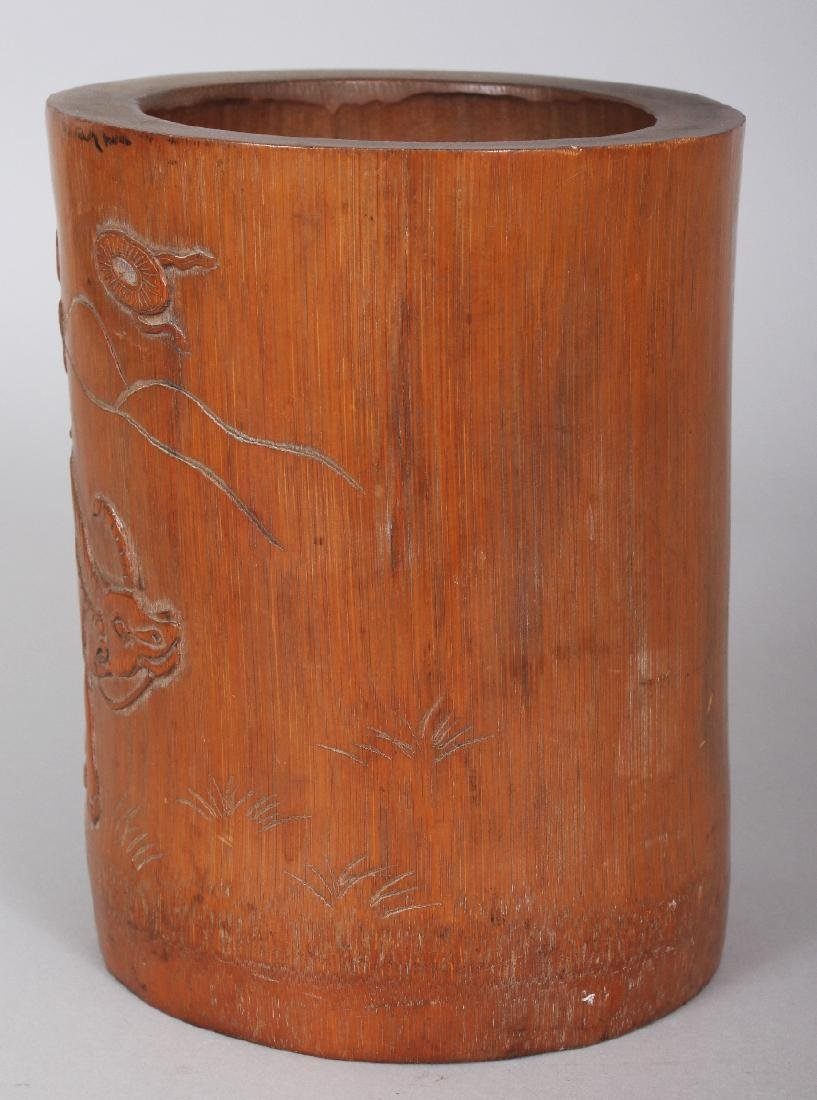 A SIGNED 19TH CENTURY CHINESE BAMBOO BRUSHPOT, carved - 4