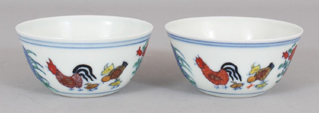 A PAIR OF CHINESE MING STYLE DOUCAI PORCELAIN CHICKEN