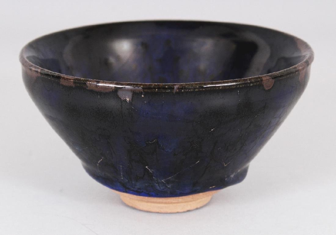 A CHINESE SONG STYLE JIAN WARE BLUE OIL SPOT CERAMIC