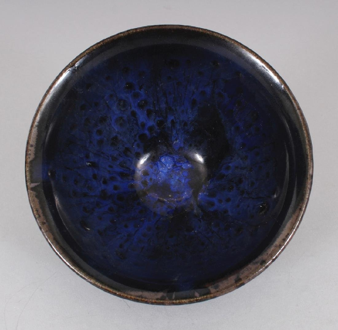 A CHINESE SONG STYLE JIAN WARE BLUE OIL SPOT CERAMIC - 4