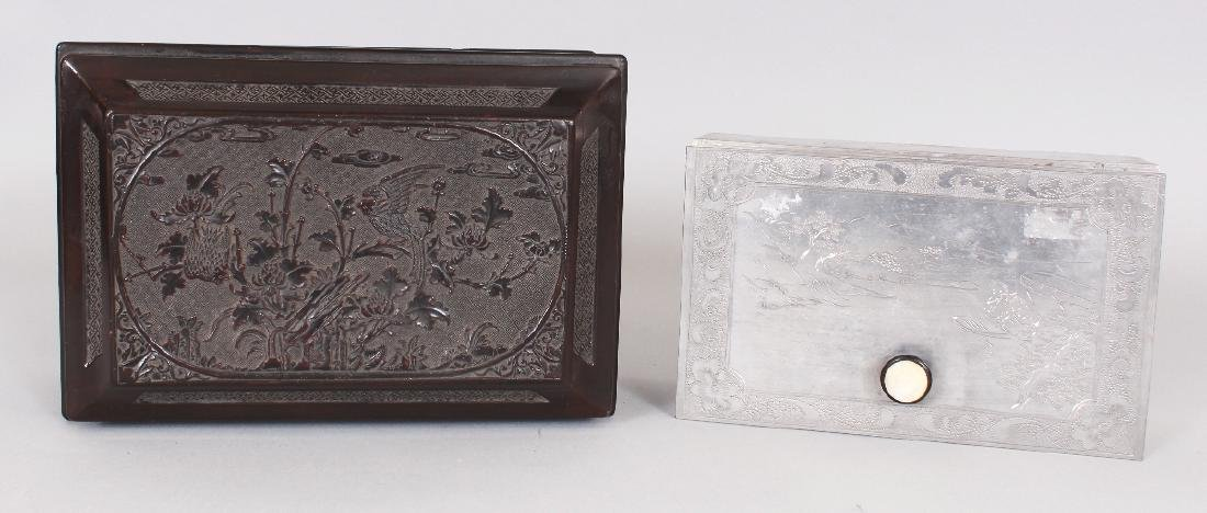 A GOOD QUALITY 19TH CENTURY CHINESE WOOD & PEWTER - 6