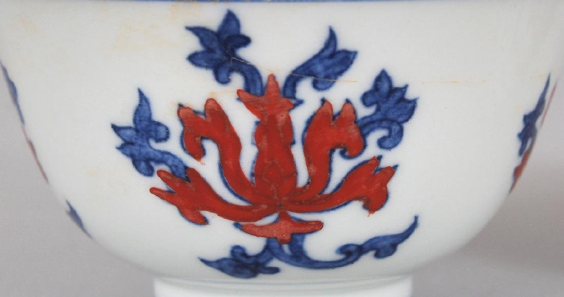 A PAIR OF CHINESE MING STYLE UNDERGLAZE-BLUE & IRON-RED - 3