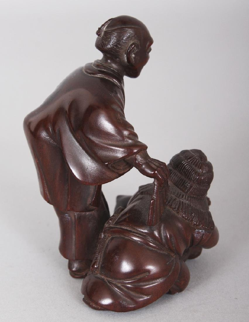 A JAPANESE CARVED WOOD GROUP OF TWO MEN & A FOX, one of - 4