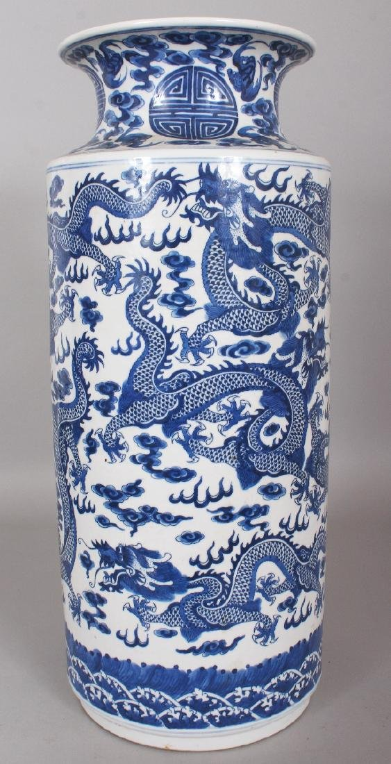 A LARGE CHINESE BLUE & WHITE PORCELAIN DRAGON VASE, the - 3