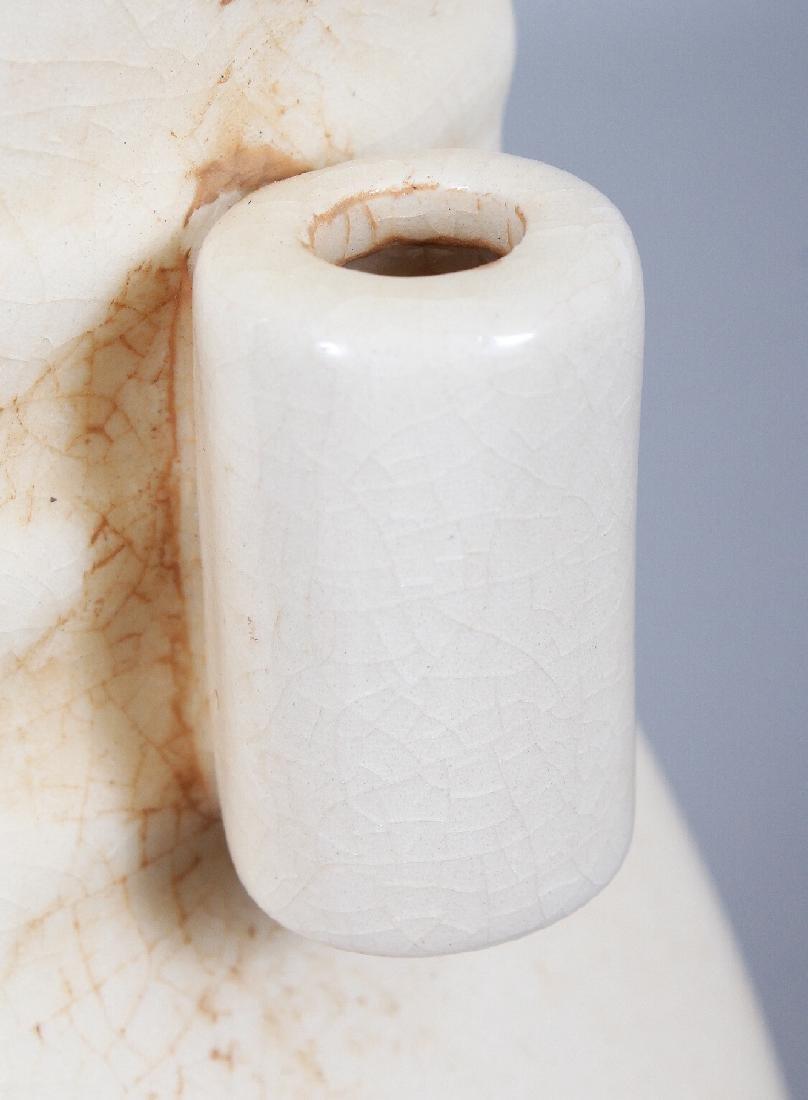 A CHINESE WHITE GLAZED PORCELAIN ARROW VASE, applied - 3