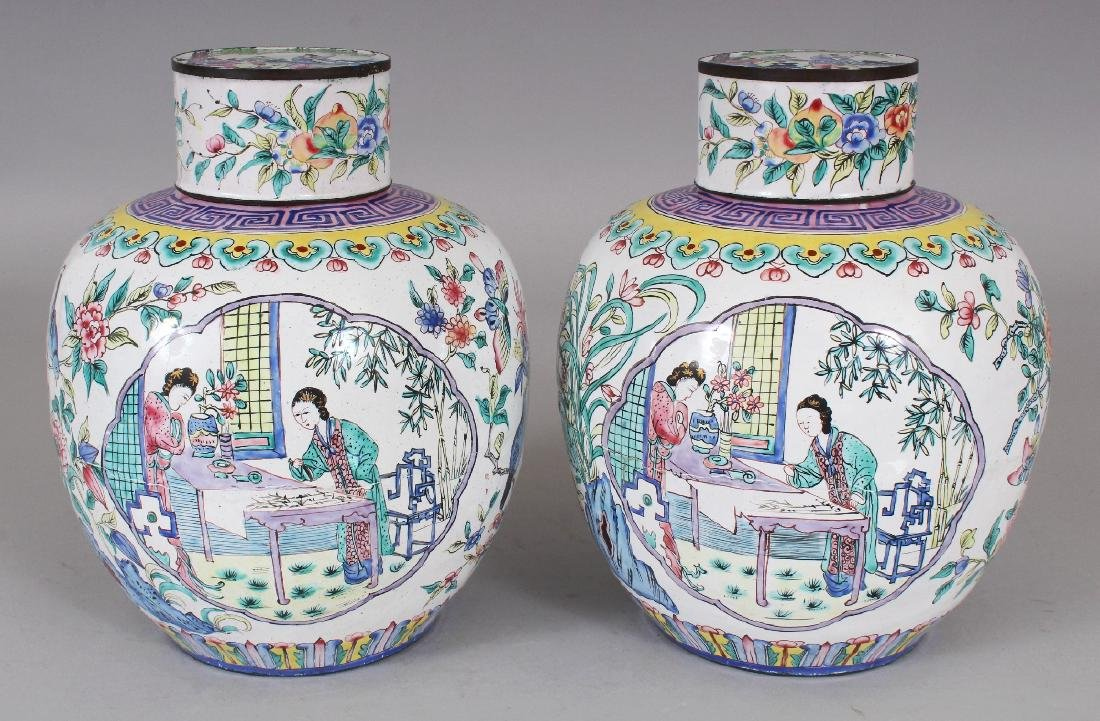 A PAIR OF CHINESE CANTON ENAMEL JARS & COVERS, each