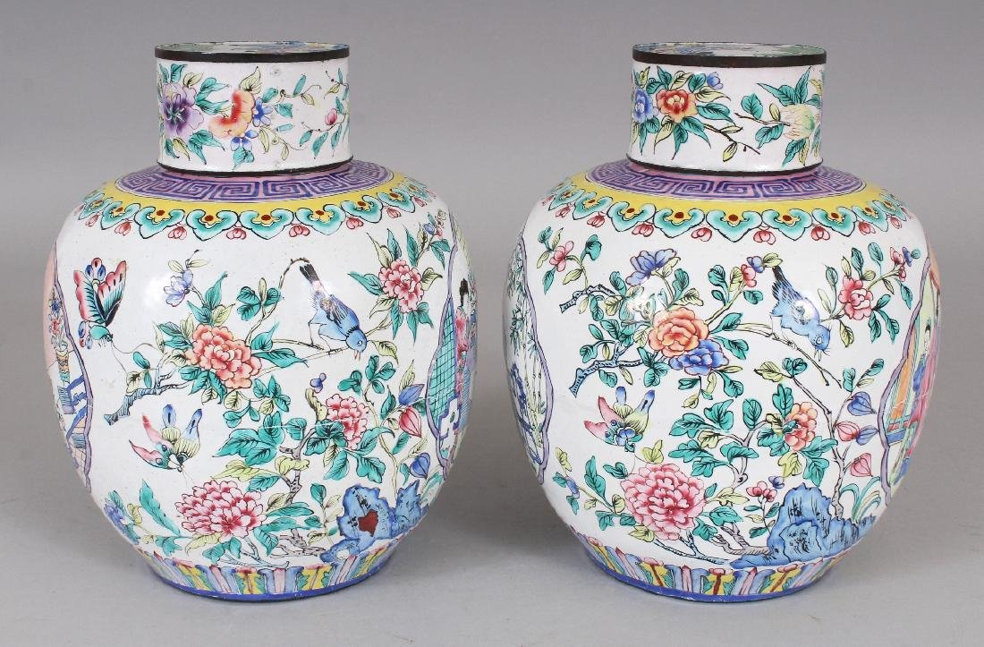 A PAIR OF CHINESE CANTON ENAMEL JARS & COVERS, each - 2