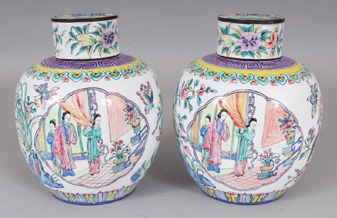 A PAIR OF CHINESE CANTON ENAMEL JARS & COVERS, each - 3