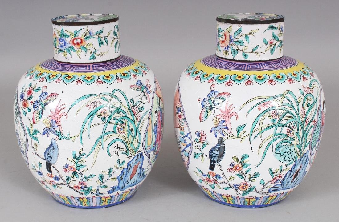 A PAIR OF CHINESE CANTON ENAMEL JARS & COVERS, each - 4