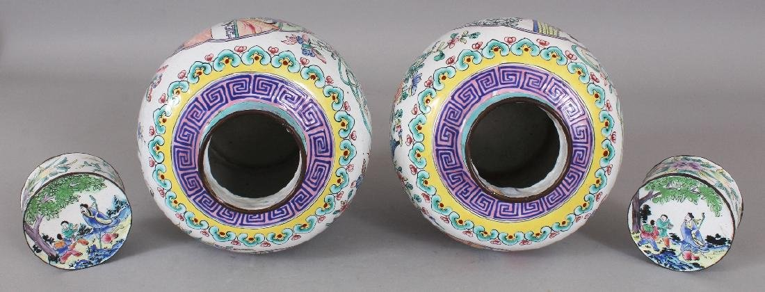 A PAIR OF CHINESE CANTON ENAMEL JARS & COVERS, each - 7