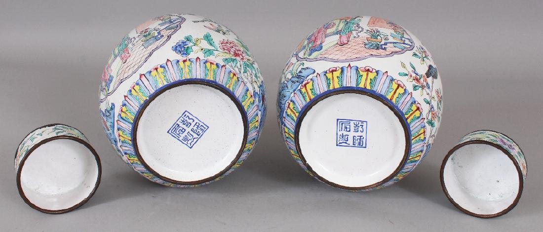 A PAIR OF CHINESE CANTON ENAMEL JARS & COVERS, each - 8