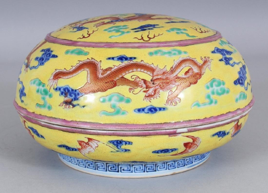 A CHINESE YELLOW GROUND CIRCULAR PORCELAIN DRAGON BOX & - 2