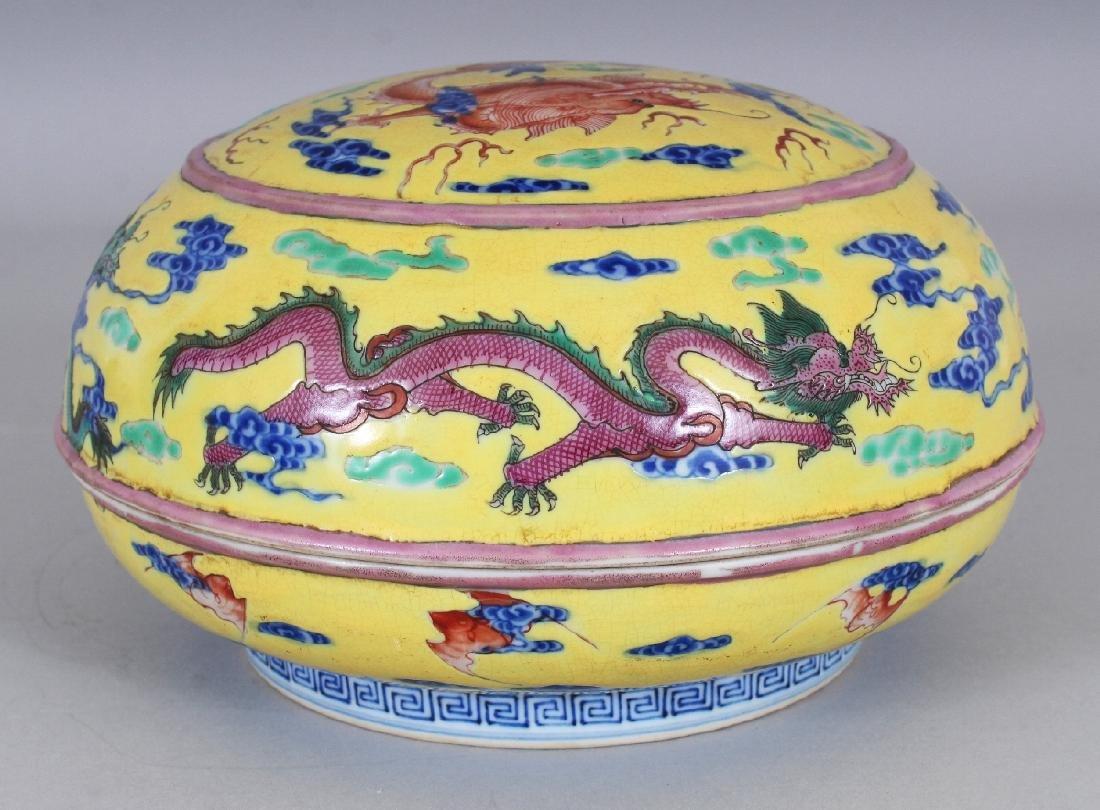 A CHINESE YELLOW GROUND CIRCULAR PORCELAIN DRAGON BOX & - 3