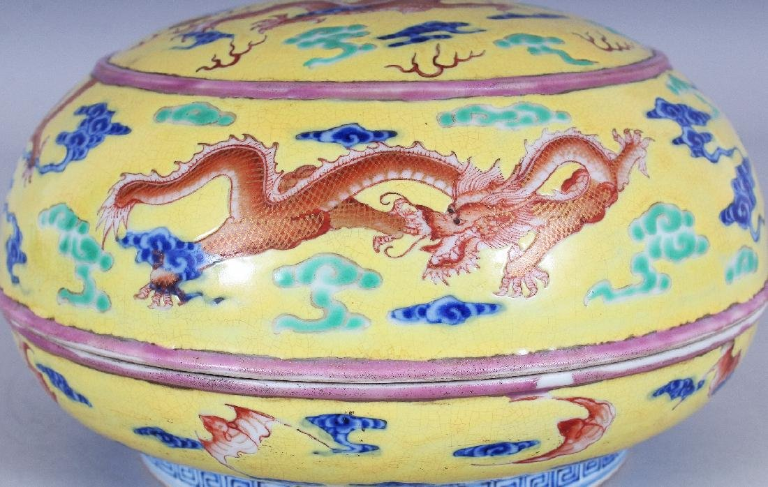 A CHINESE YELLOW GROUND CIRCULAR PORCELAIN DRAGON BOX & - 4