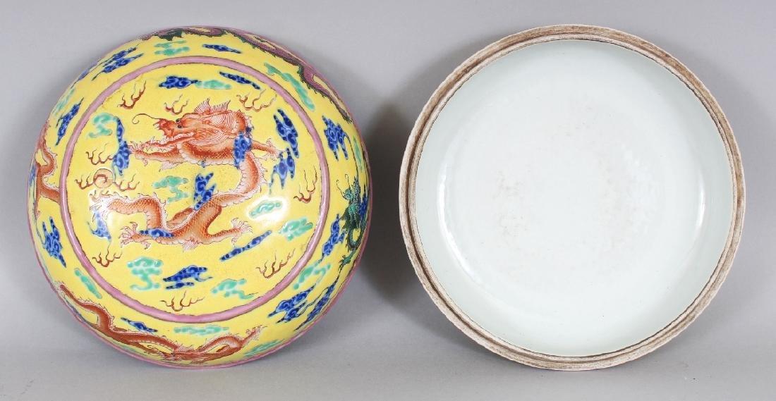 A CHINESE YELLOW GROUND CIRCULAR PORCELAIN DRAGON BOX & - 5