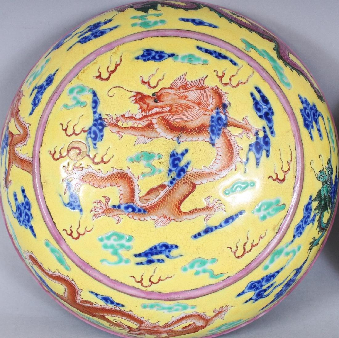 A CHINESE YELLOW GROUND CIRCULAR PORCELAIN DRAGON BOX & - 6
