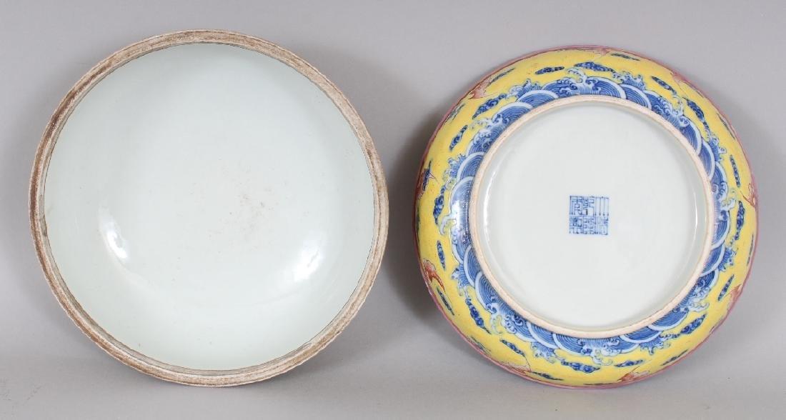 A CHINESE YELLOW GROUND CIRCULAR PORCELAIN DRAGON BOX & - 7