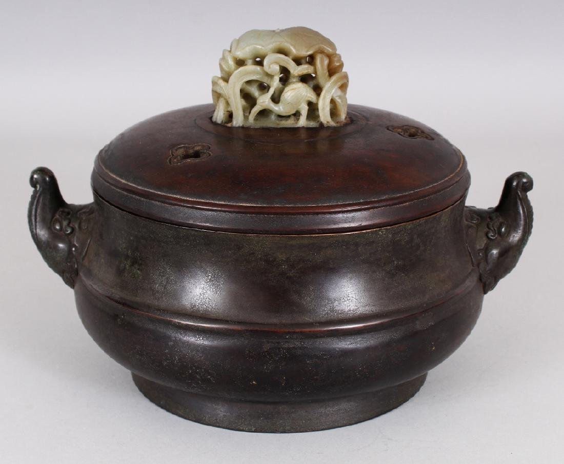 A CHINESE BRONZE CENSER, together with a wood cover