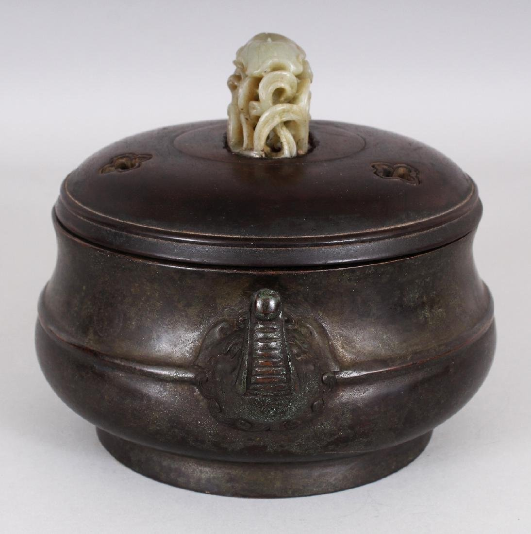A CHINESE BRONZE CENSER, together with a wood cover - 2