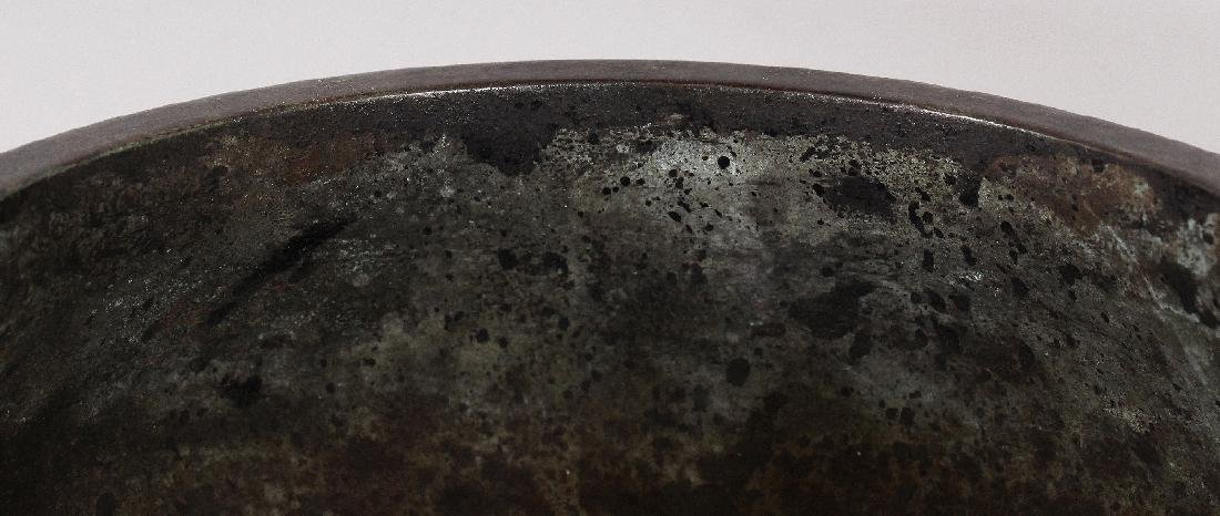 A CHINESE BRONZE CENSER, together with a wood cover - 6