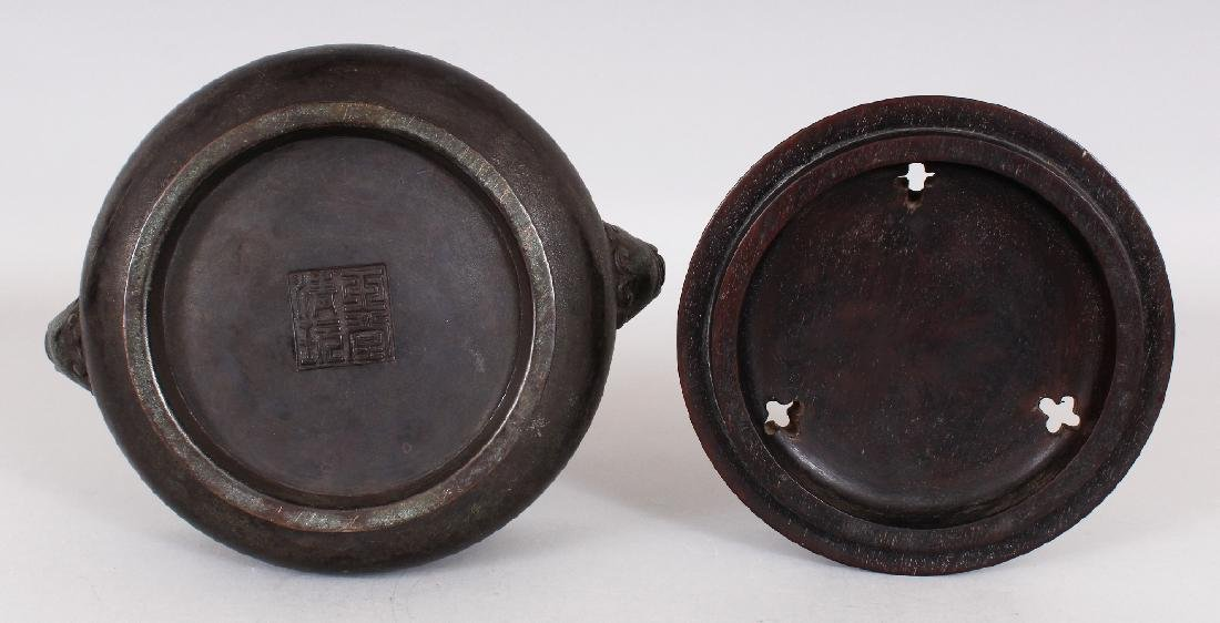 A CHINESE BRONZE CENSER, together with a wood cover - 7