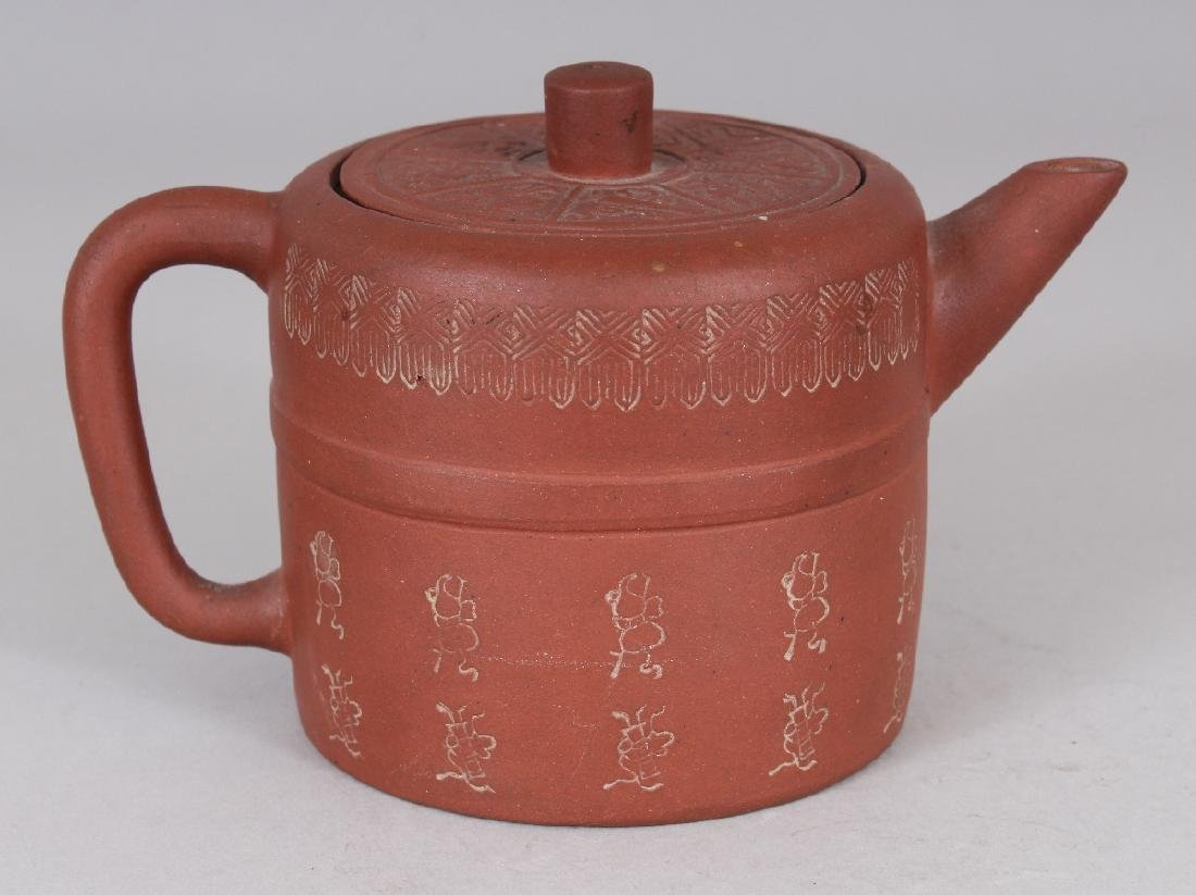 A 19TH CENTURY CHINESE YIXING POTTERY TEAPOT & COVER, - 3
