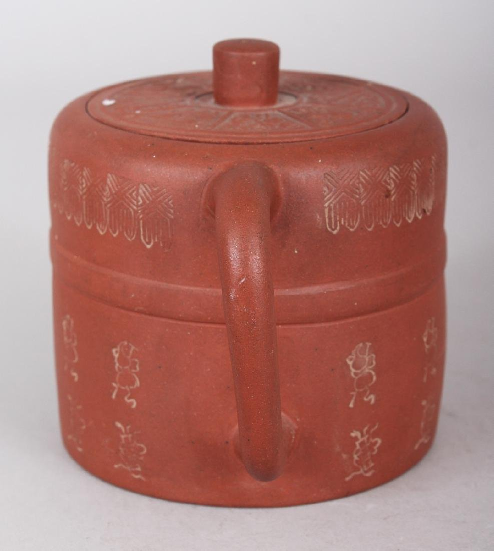 A 19TH CENTURY CHINESE YIXING POTTERY TEAPOT & COVER, - 4