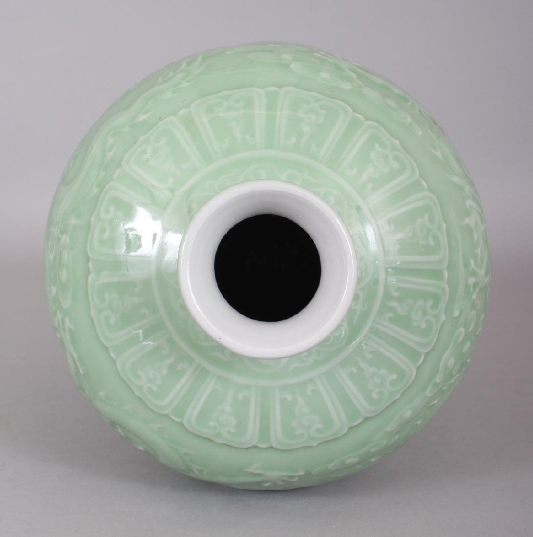 A CHINESE CELADON GLAZED PORCELAIN MEIPING DRAGON VASE, - 6