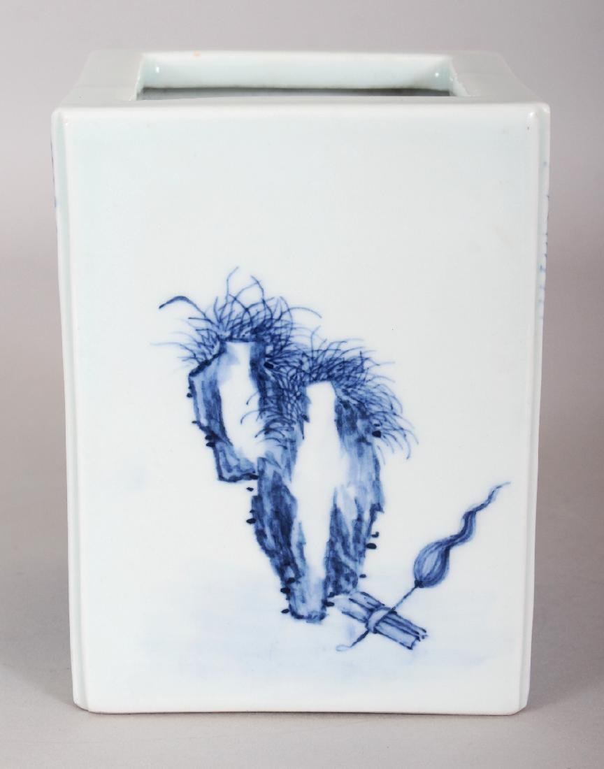 A CHINESE REPUBLIC STYLE BLUE & WHITE PORCELAIN SQUARE - 2