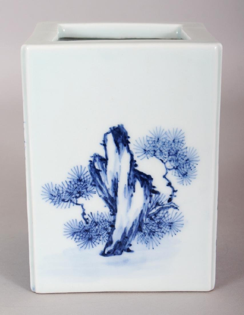 A CHINESE REPUBLIC STYLE BLUE & WHITE PORCELAIN SQUARE - 4