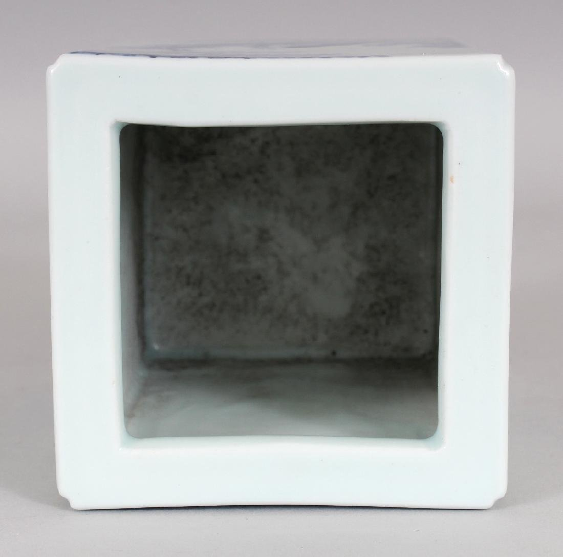 A CHINESE REPUBLIC STYLE BLUE & WHITE PORCELAIN SQUARE - 6