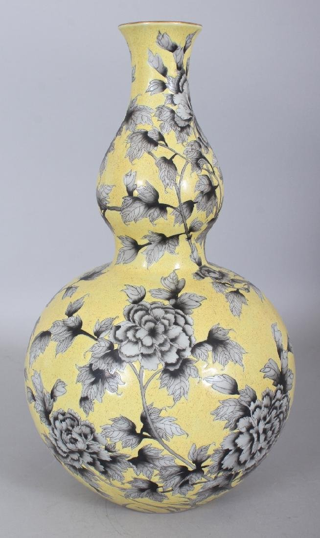 A CHINESE DAYA ZHAI STYLE YELLOW GROUND DOUBLE GOURD - 3