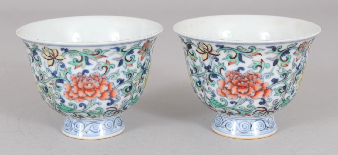 A PAIR OF CHINESE MING STYLE DOUCAI PORCELAIN WINE