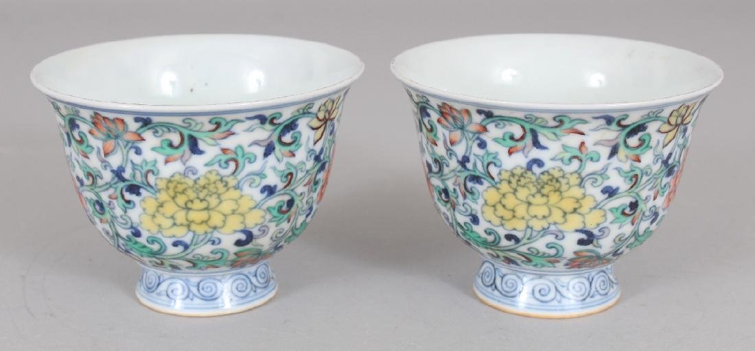 A PAIR OF CHINESE MING STYLE DOUCAI PORCELAIN WINE - 2