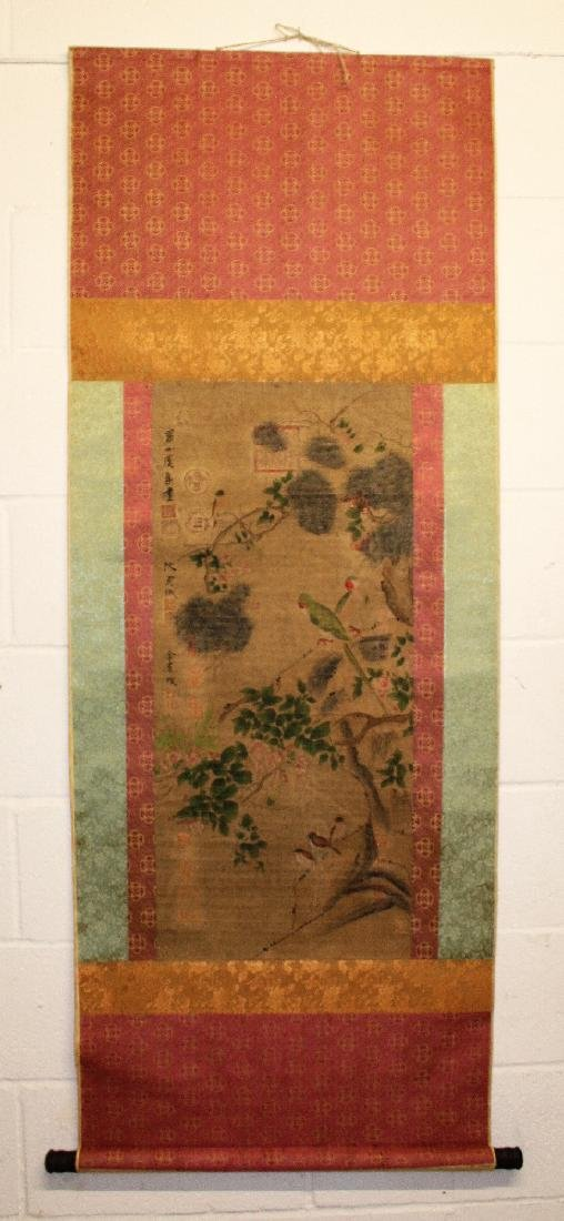 A CHINESE HANGING SCROLL PICTURE, decorated with birds