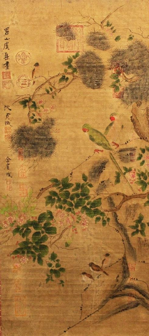 A CHINESE HANGING SCROLL PICTURE, decorated with birds - 2