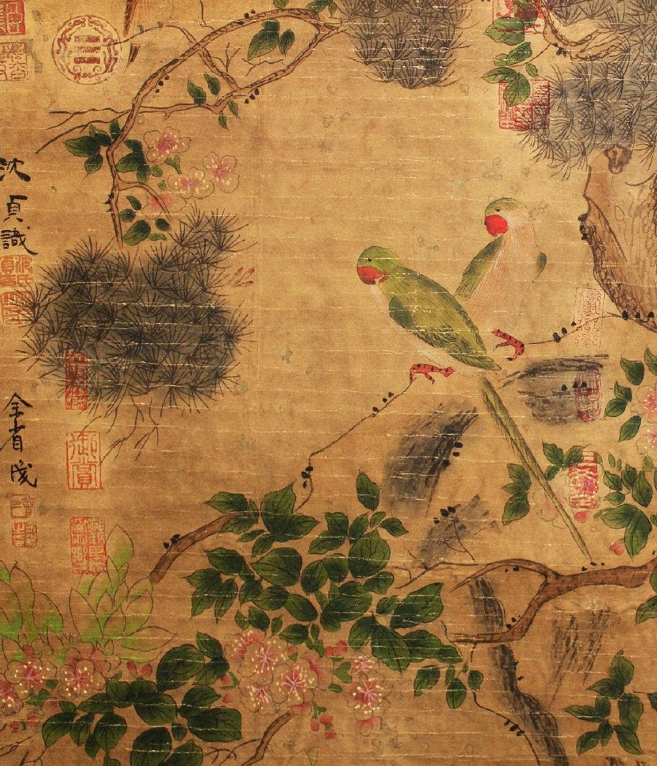 A CHINESE HANGING SCROLL PICTURE, decorated with birds - 3