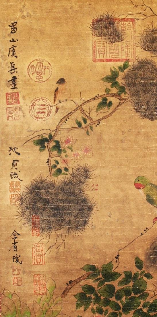 A CHINESE HANGING SCROLL PICTURE, decorated with birds - 4