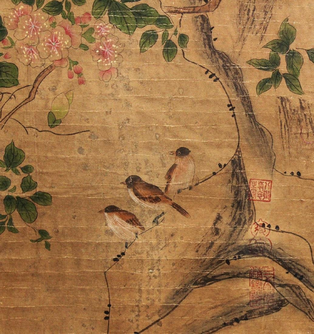 A CHINESE HANGING SCROLL PICTURE, decorated with birds - 5