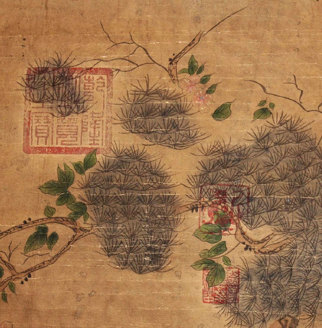 A CHINESE HANGING SCROLL PICTURE, decorated with birds - 6