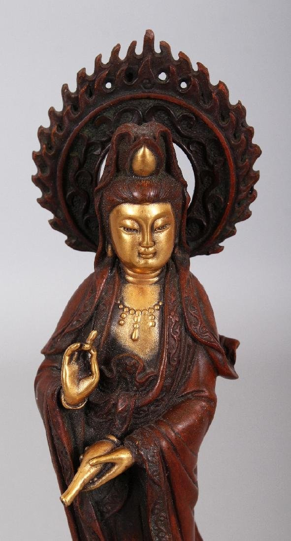 A CHINESE GILT BRONZE MODEL OF GUANYIN, standing on a - 5