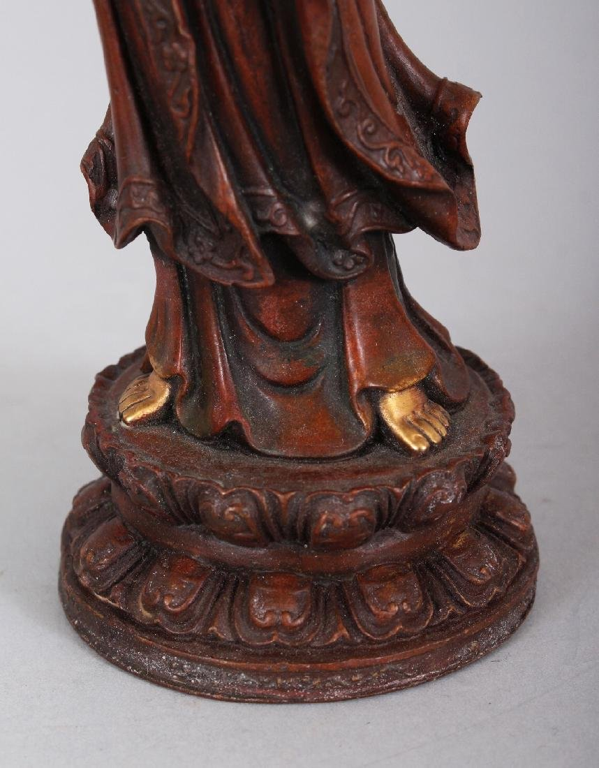 A CHINESE GILT BRONZE MODEL OF GUANYIN, standing on a - 6