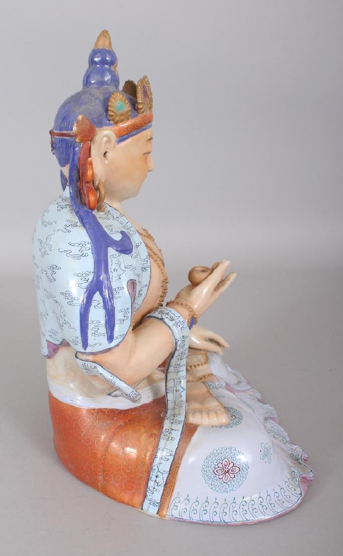 A CHINESE FAMILLE ROSE PORCELAIN FIGURE OF BUDDHA, - 2