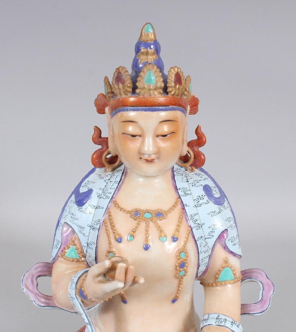 A CHINESE FAMILLE ROSE PORCELAIN FIGURE OF BUDDHA, - 5