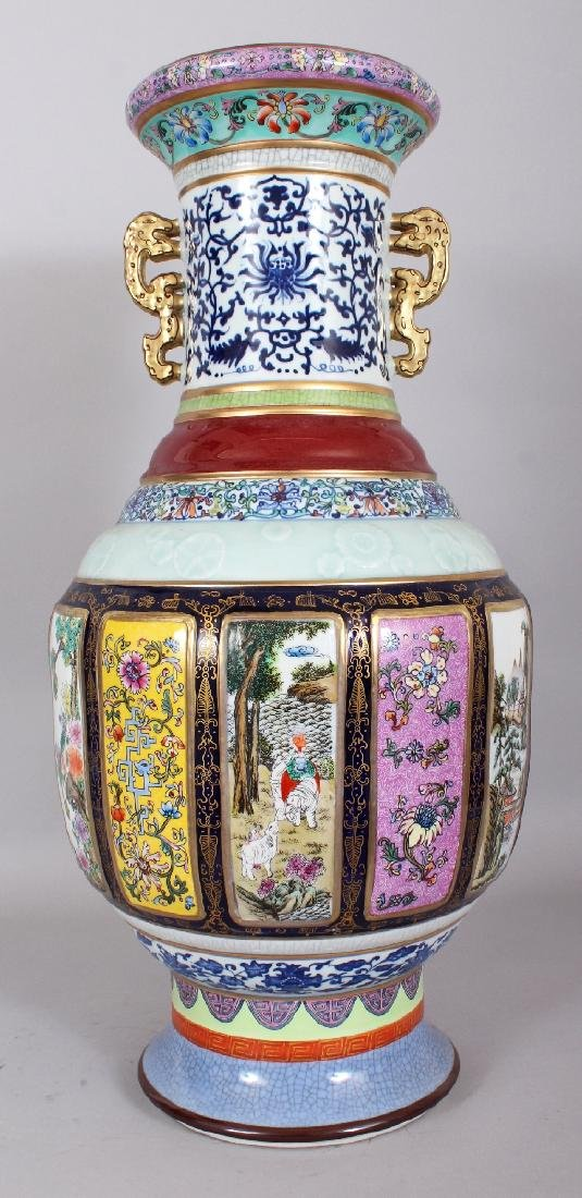 A LARGE CHINESE FAMILLE ROSE PORCELAIN VASE, the sides - 3