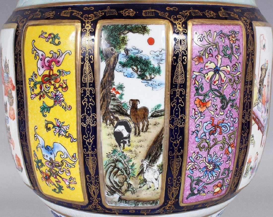 A LARGE CHINESE FAMILLE ROSE PORCELAIN VASE, the sides - 5