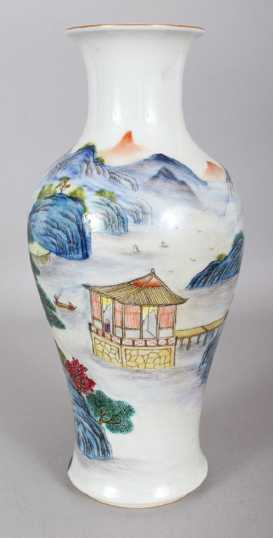 A CHINESE FAMILLE ROSE BALUSTER PORCELAIN VASE, the