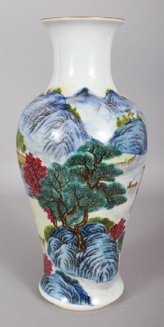 A CHINESE FAMILLE ROSE BALUSTER PORCELAIN VASE, the - 2